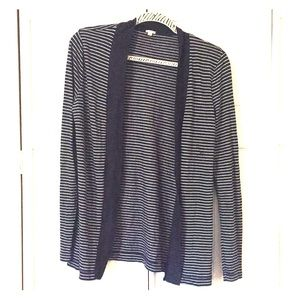J.Crew Womens navy blue and white striped cardigan